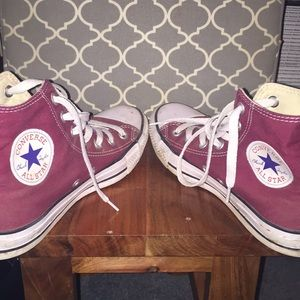 Converse Shoes - BARELY WORN Maroon Converse All Star High Tops